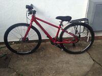 Pinnacle red womens hybrid bicycle bike and accessories