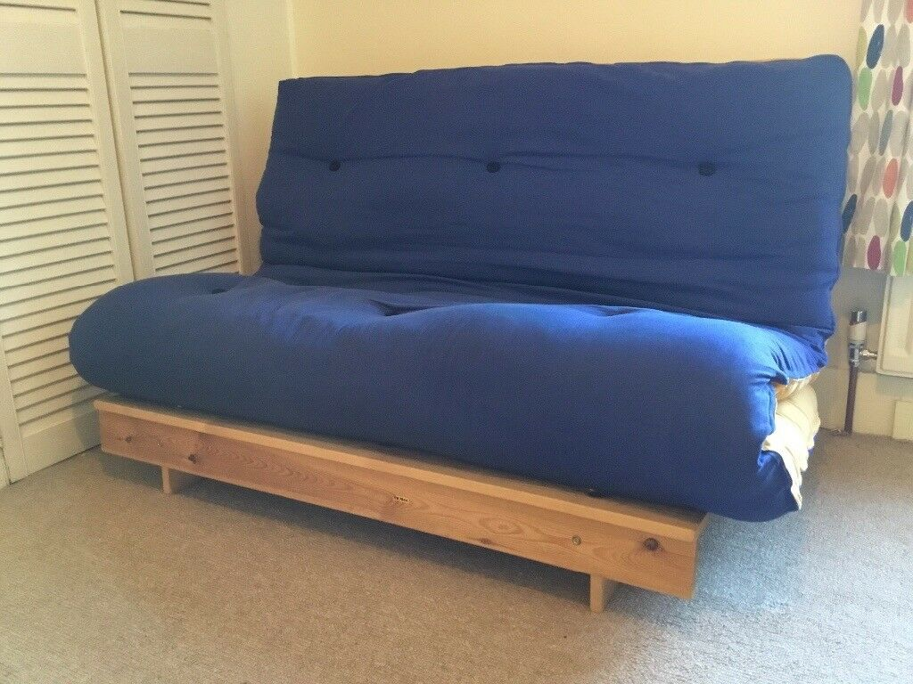 Cambridge Futons Quality Yellow And Blue Double Futon Sofa Bed