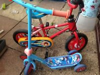mothercare kids bicycle red color ....perfect condition plus thomas scooty