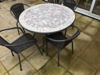Mosque tiled garden table chairs and hanging parasol