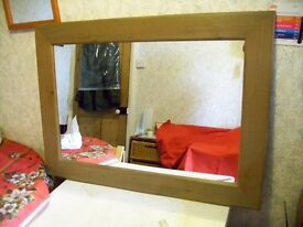 Large Waxy Pine Wall Mirror