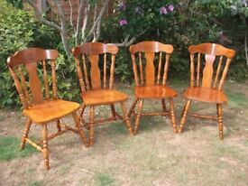 four light wood dining chairs, farm house style