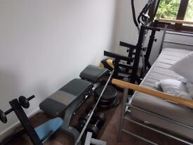 Bodymax weight equipments; bench; weights up to about 120 kg; cross trainer; squat rack; dumbells