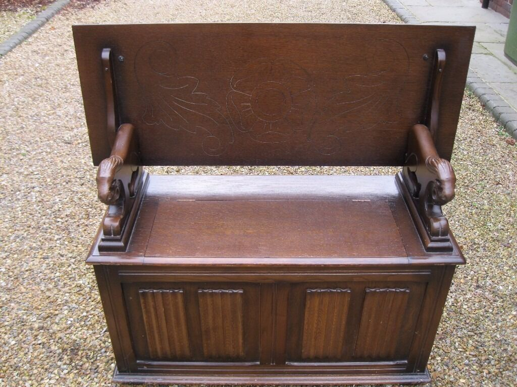 Oak Monks Bench Settle Pew With Storage Table