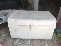 Large vintage metal trunk / chest / storage