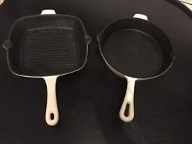 Cream Cast Iron Pan & Grill Pan