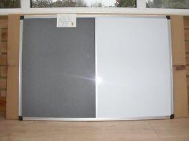 Bi-Office Combination Aluminium Frame Board Magnetic / Felt Board (Grey) 900mm x 600mm