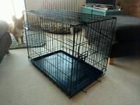 Dog/Puppy Cage - Folding 2 Door Crate with Non-Chew Metal - Ground Tray - Medium 30-inch Black