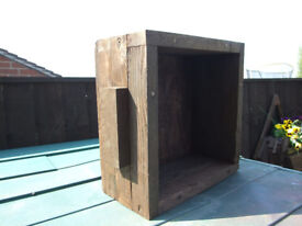 Small square solid wood planter