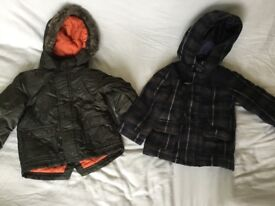 Two boys winter coats jackets 18-24 months one tartan hardly used bundle