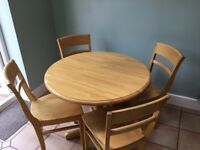 3ft Dropleaf Birch Dining Table and 4 Chairs