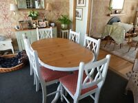 Shabby Chic style extending dining table and six chairs