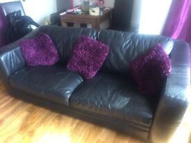 3 seater and 2seater black leather setees free