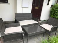 St Lucia 4 Seater Rattan Garden Set with Table & Cushions