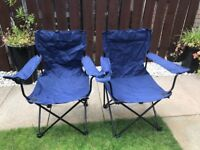 2 x folding / camping armchairs with cupholders