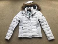 SuperDry - White Fuji Slim Double Zip Hooded Jacket - Size M (excellent condition)
