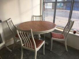 Gorgeous table and 4 chairs finished in winter grey