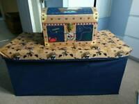 Boys nautical room bundle. Storage, lamp, light shade, cushion, bedding and bunting.