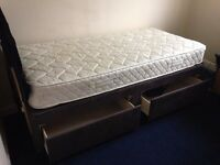 Single bed, 2 drawer divan, with headboard, nearly new (used as guest bed).
