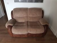 3&2 seater sofa with recliners Faux leather two tone brown 2 seater hardly sat on