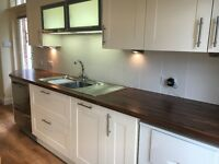 John Lewis Vermont kitchen in cream. Good condition. Sink, oven, dishwasher included