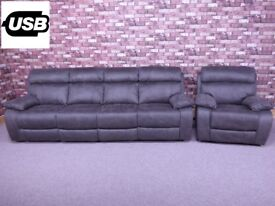 QUALITY EX DISPLAY 'MORENO' 4 SEATER POWER RECLINER SOFA & ARMCHAIR IN GREY FABRIC SETTEES/SUITE