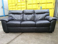 Black 3 Seater Leather Couch Sofa - DELIVERY AVAILABLE