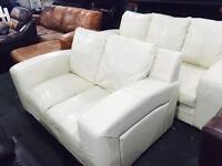 Cream leather 3 and 2 sofa srr