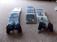 PS3 with console, 16 games and two controllers.