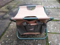 Folding tool stool with canvas tool bag. Fishing, gardening, odd jobs