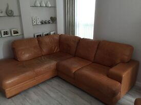 Genuine tan leather corner sofa