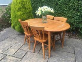 Solid PINE table and chairs FIDDLE BACK solid wood shabby chic EXTENDS TO SEAT 8