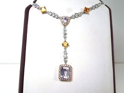 New Amethyst Citrine Diamond 14k WG Pendant Necklace - GAL Appraisal-Gift Box