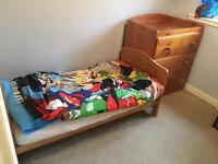 Mothercare cotbed/toddler bed and drawers with top changer