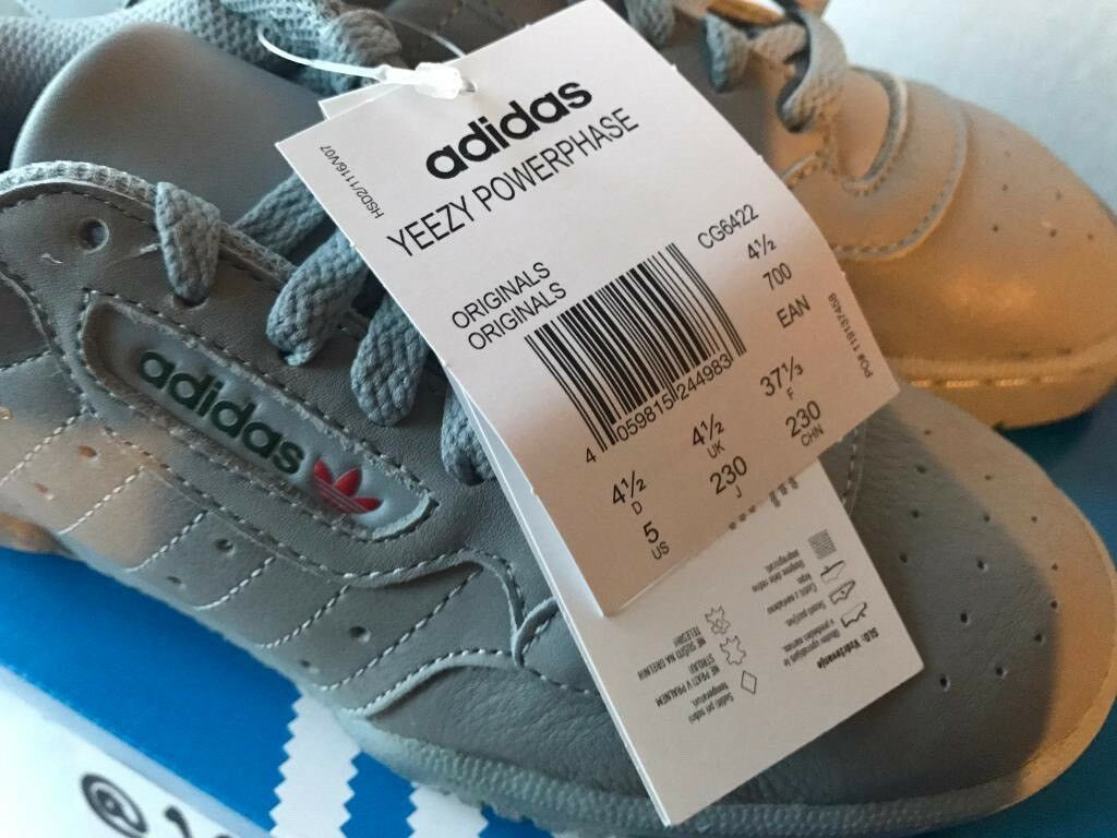 ee472cd5 ADIDAS x Kanye West Yeezy POWERPHASE CALABASAS Grey UK4.5 Or UK5.5 CG6422  ADIDAS RECEIPT 100sales