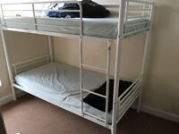 Bunk beds £50 - white metal in excellent (brand new) condition