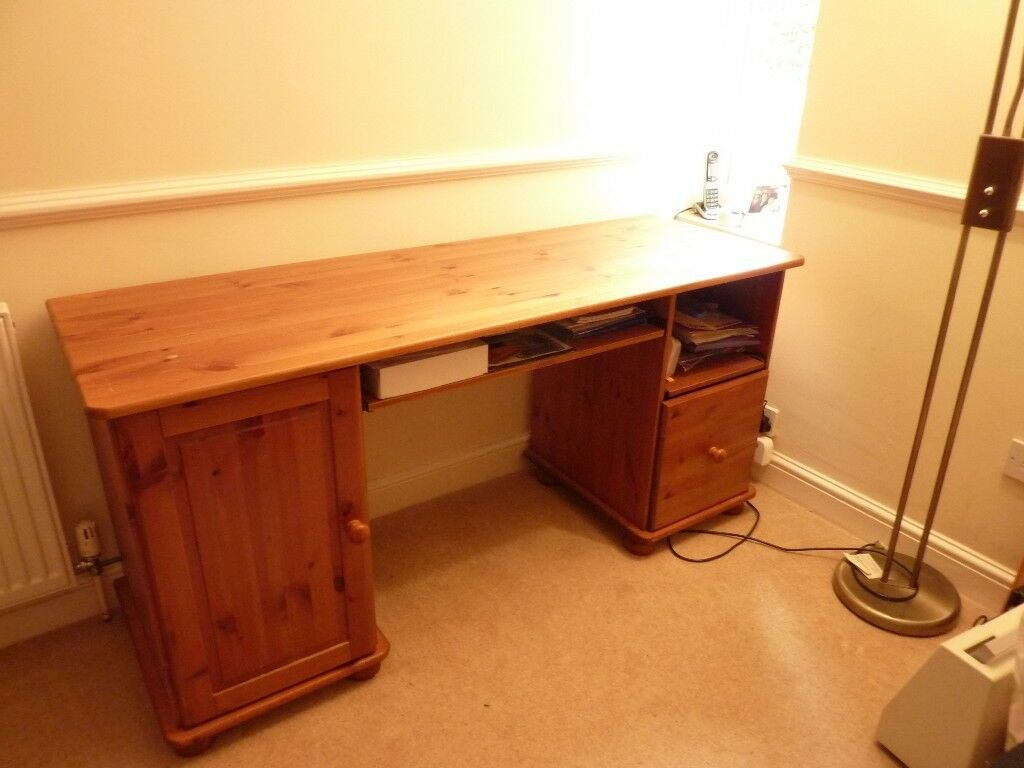 Pine Desk Computer With Filing Drawer