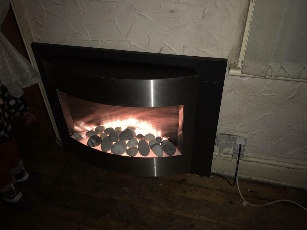 Pebble effect Electric fire place