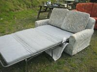 MODERN LIGHT BLUE SOFA BED. 2 SEATER SOFA INTO DOUBLE BED WITH MATTRESS. VIEWING/DELIVERY AVAILABLE