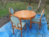 DINING TABLE (EXTENDING) AND FOUR CHAIRS