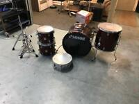 Sonor force 505 Acoustic drum kit set wine red shell pack rock sizes with extras