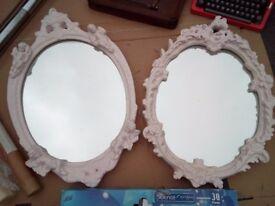 2 Shabby Chic Mirrors (Pink)