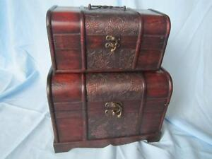 BLACK FRIDAY - SET 2 DECORATIVE WOODEN TREASURE PIRATE CHEST STORAGE BOX