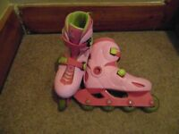 Girls Pink Rollerblade Boots, adjustable for shoe size 13 - 1.5