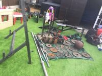 Olympic bars weights dumbbells bench multi gym squat rack and more