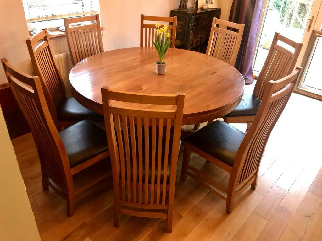 8 Chair Round Dining Table: Solid Oak Round Dining Table With 8 Chairs