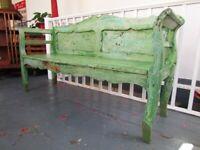 Antique Victorian Swedish Pine Bench in original Paint. Hall Seat/Vintage/Folkart