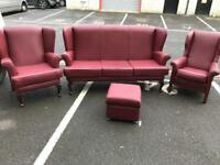 3 Piece Retro Style Wingback Suite (Sofa, Chairs, Stool)