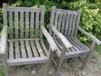 2 HARDWOOD GARDEN CHAIRS