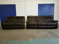 DARK BROWN LEATHER RECLINING SOFAS SET 3 SEATER & 2 SEATER RECLINER SOFA SUITE / SETTEE CAN DELIVER